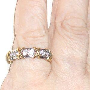 Jewelry - 16-Stone CZ Gold Tone & Silver XO Ring 11 & 7